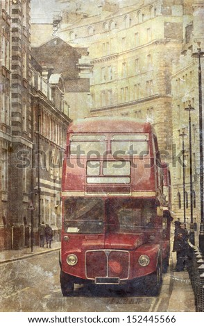 Vintage photo of old red London bus - stock photo
