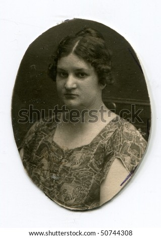 Vintage photo of overweight woman - stock photo