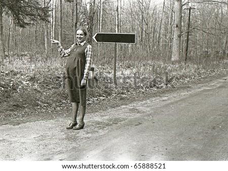 Vintage photo of pregnant woman - stock photo