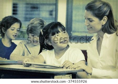 Vintage photo of primary classroom. - stock photo
