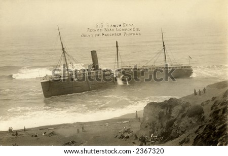 Vintage photo of ship split in half on the California coast
