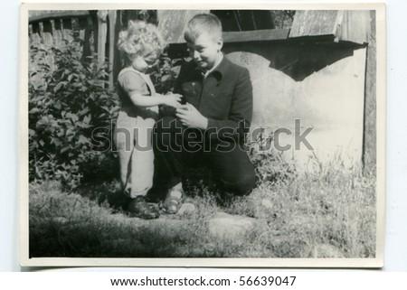 Vintage photo of siblings - stock photo