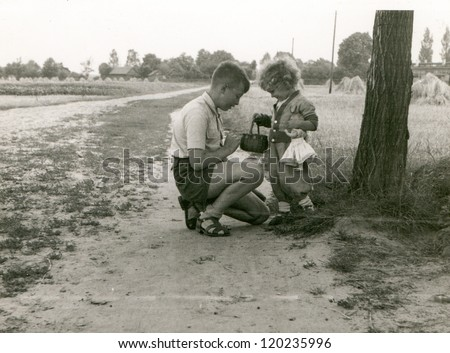 Vintage photo of siblings playing outdoor (fifties)