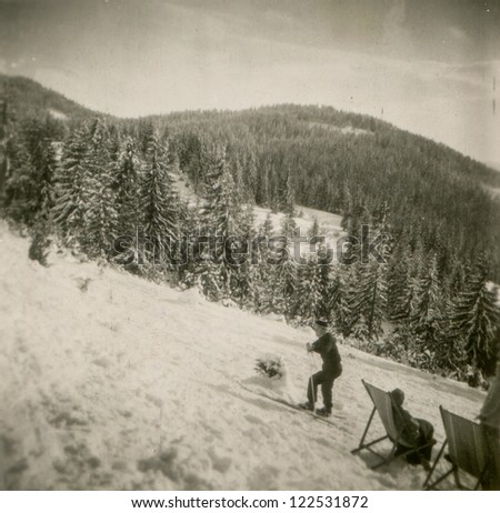 Vintage photo of skier (fifties)