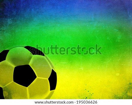 Vintage photo of soccer ball and Brazil flag - stock photo