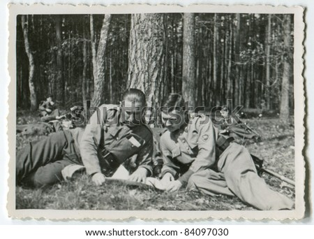 Vintage photo of soldiers, thirties - stock photo