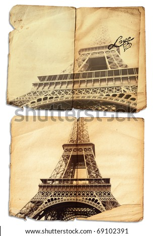 vintage photo of symbol of love Eiffel Tower on grunge pages of an antique journal with copy space, clipping path included - stock photo