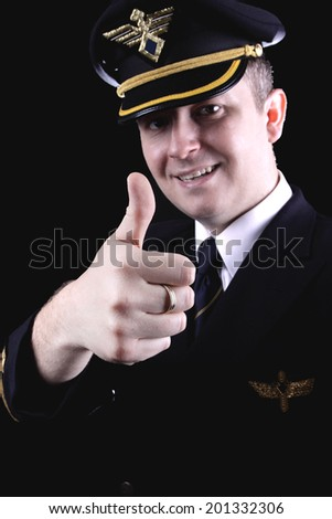 Vintage photo of the pilot in uniform - stock photo