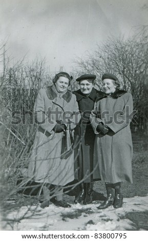 Vintage photo of three women (forties) - stock photo