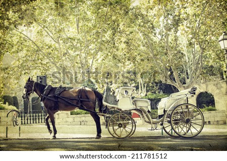 Vintage photo of tourist chariot in the old city of Palma de Mallorca - stock photo