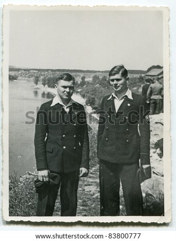 Vintage photo of two brothers (1938) - stock photo