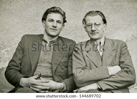 Vintage photo of two brothers, forties - stock photo