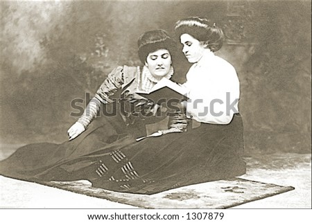 Vintage photo of Two Women Reading - stock photo