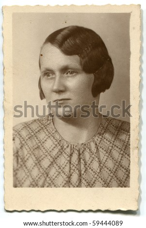 Vintage photo of woman - stock photo