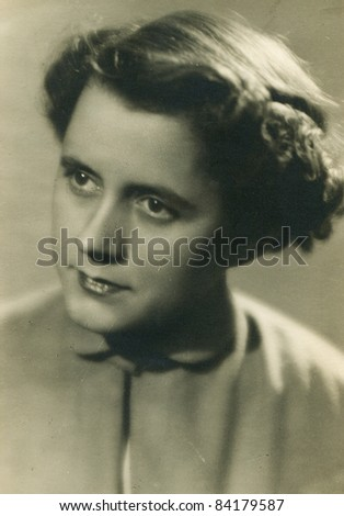 Vintage photo of woman (fifties) - stock photo