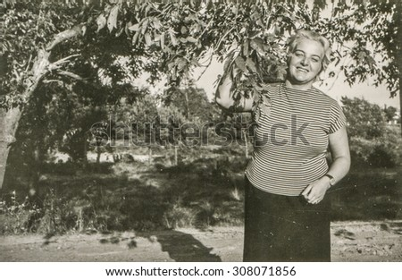 Vintage photo of woman in garden, 1950's - stock photo