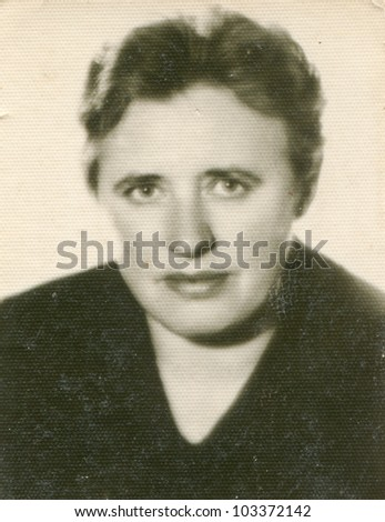 Vintage photo of woman (sixties) - stock photo