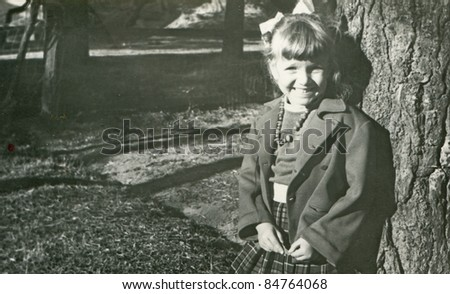 Vintage photo of young girl (fifties)