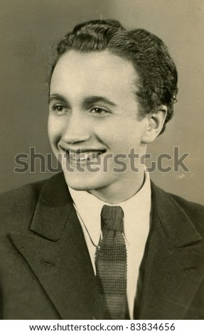Vintage photo of young man (forties) - stock photo