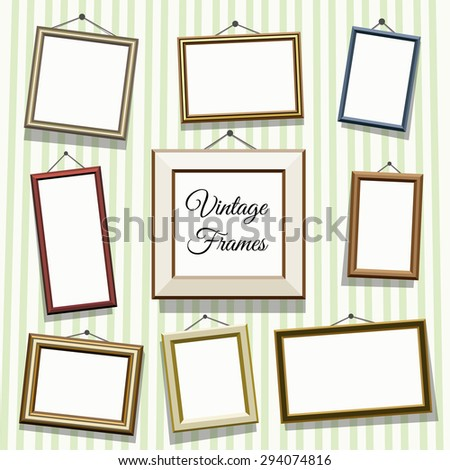 Vintage photo or picture frames set. Empty blank, art decoration, gallery illustration and exhibition - stock photo