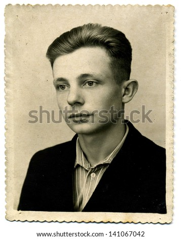 vintage photo portrait of a man beginning of the 20th century - stock photo