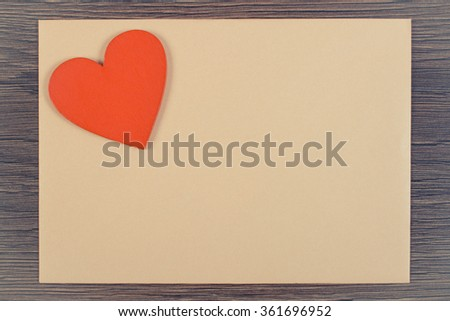 Vintage photo, Valentine red heart and love letter in envelope on wooden background, decoration for Valentines Day, symbol of love, copy space for text - stock photo