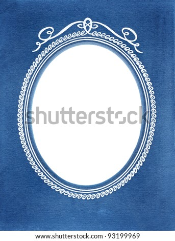 vintage photoframe background with oval vignette and blue background - stock photo
