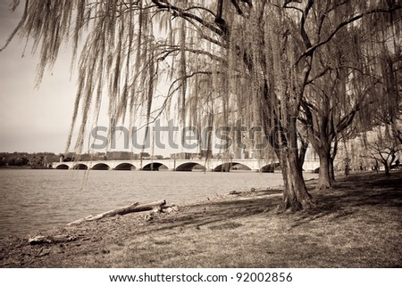 Vintage photograph of bridge and Potomac river in Washington DC surrounded by beautiful weeping willow tree - stock photo