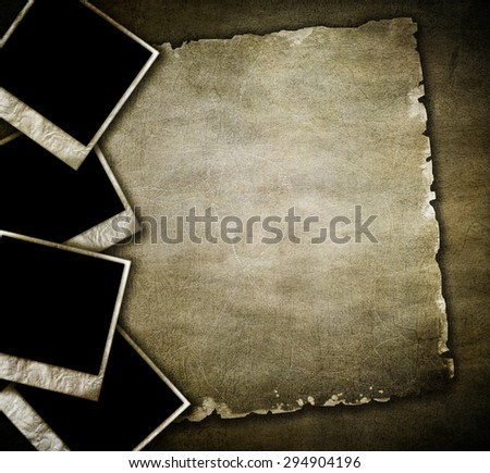 vintage photos on old background - stock photo