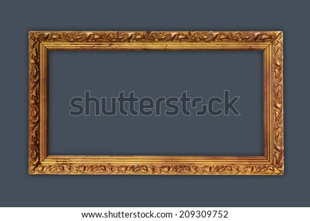 vintage picture frame, gold plated.  - stock photo