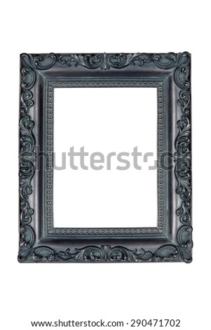 Vintage picture frame isolated over white with clipping path. - stock photo