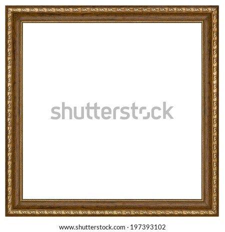 Vintage picture frame, white background, with clipping path - stock photo