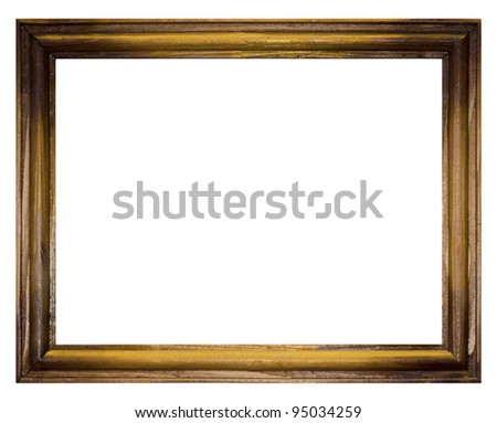 Vintage picture frame, wood plated, white background - stock photo