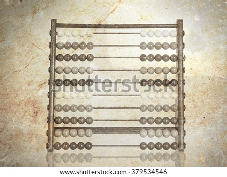 Vintage picture of an old abacus - dirty and scratched image - stock photo