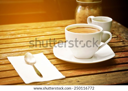 vintage picture of cappuccino coffee  - stock photo