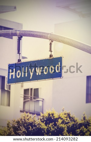Vintage picture of Hollywood street sign in Hollywood, USA. - stock photo