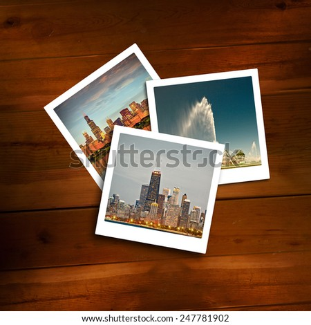 Vintage pictures of travel memories on a wooden background. Desaturated processing. Photos of Chicago are from my collection.  - stock photo