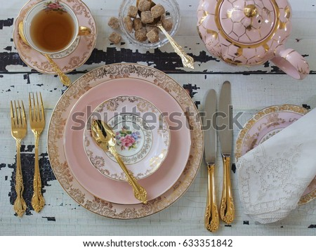 Vintage pink china dinner plates tea cup teapot gold cutlery flatware sugar & Vintage Pink China Dinner Plates Tea Stock Photo (Royalty Free ...