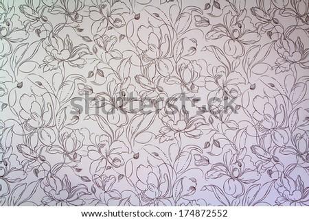 Vintage pink damask seamless floral pattern background - stock photo