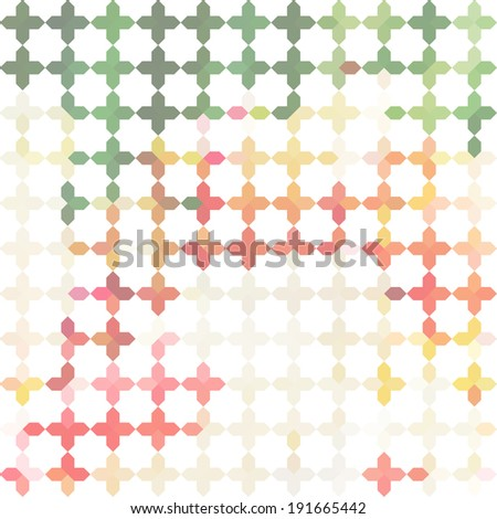 Vintage pink minimalistic background with geometric ornament with crosses. Raster version - stock photo