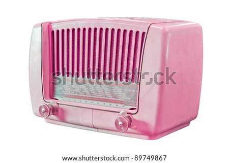 vintage pink radio isolated with clipping path - stock photo