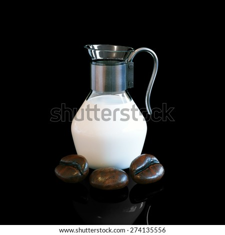 Vintage pitcher full of milk with decorative larch coffee beans on black background. - stock photo