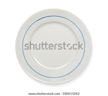 Vintage plate on white with shadow (clipping path) - stock photo