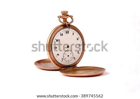 vintage pocket clock - stock photo