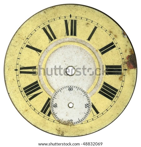 Vintage pocket watch - dial only - isolated with clipping path - stock photo