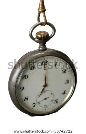 Vintage Pocket Watch isolated on white background - stock photo