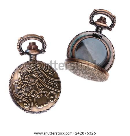 Vintage Pocket Watch Metal Ornate Case - Locket - stock photo