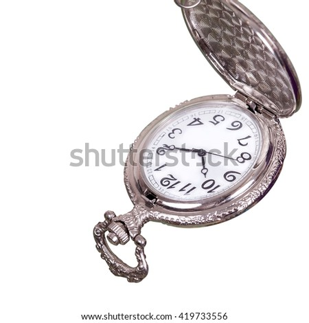 vintage pocket watch on white