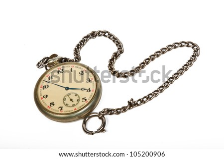 vintage pocket watch with chain isolated on white - stock photo
