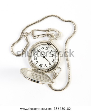 vintage pocket watch with chain isolated on white